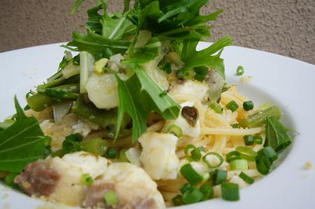真鯛と緑野菜、からすみのスパゲティ
